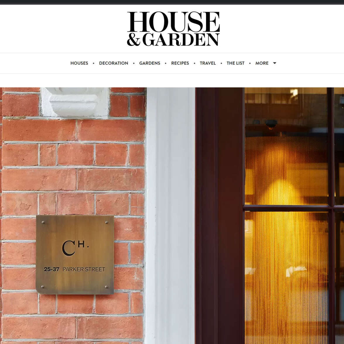 House & Garden magazine features Chapter House