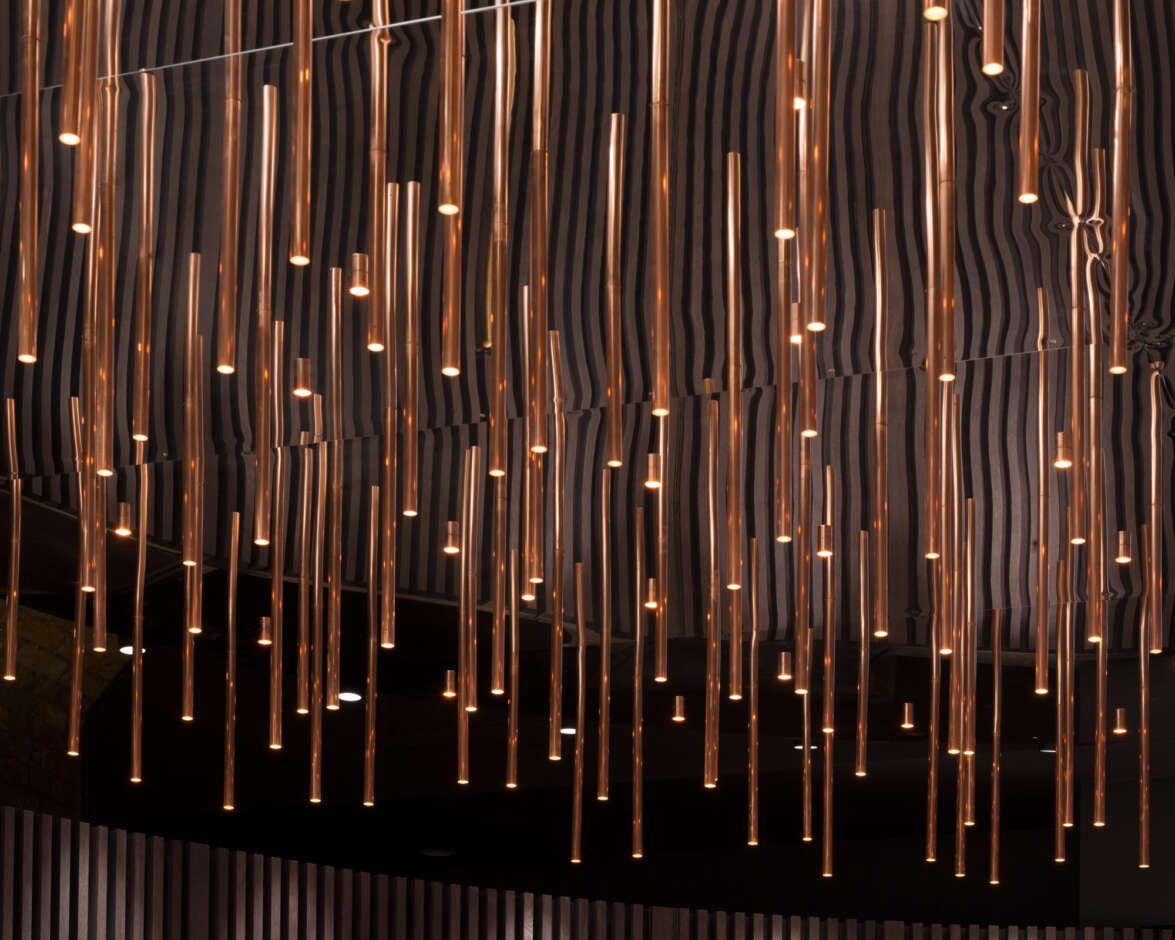Cylindrical copper droplet chandelier