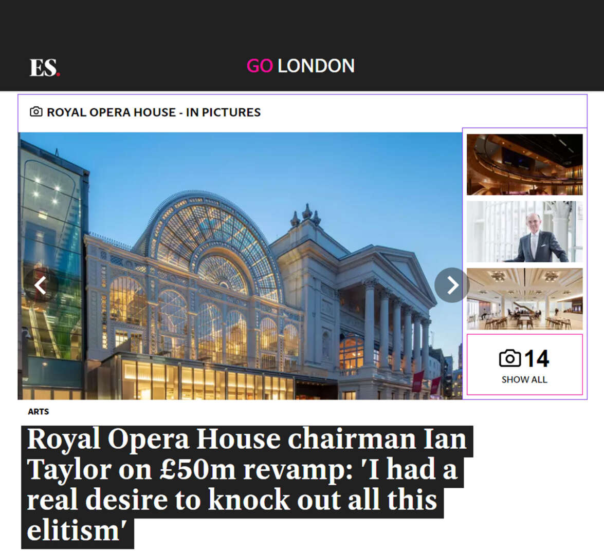 The Royal Opera House featured in The Evening Standard