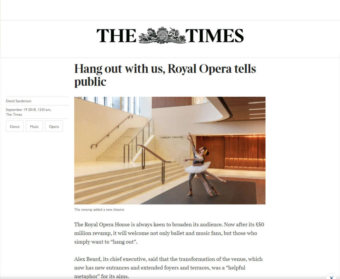 The Times review The Royal Opera House 'Open Up' project